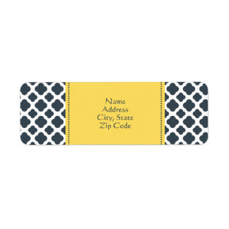 Charcoal, White and Yellow Quatrefoil Pattern Return Address Label