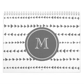 Charcoal White Aztec Arrows Monogram Wall Calendar