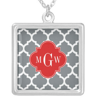 Charcoal, White Moroccan #5 Red 3 Initial Monogram Square Pendant Necklace