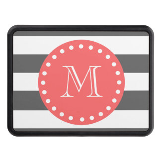 Charcoal White Stripes Pattern, Coral Monogram Hitch Covers
