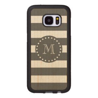 Charcoal White Stripes Pattern, Your Monogram Wood Samsung Galaxy S7 Case
