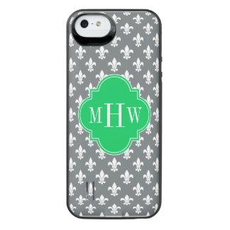 Charcoal Wht Fleur de Lis Emerald 3 Init Monogram iPhone SE/5/5s Battery Case