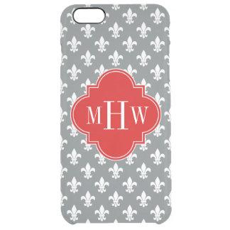 Charcoal Wht Fleur de Lis Red 3 Init Monogram Clear iPhone 6 Plus Case