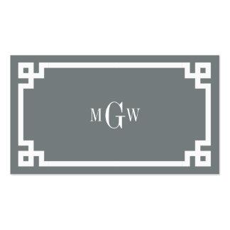 Charcoal Wht Greek Key #2 Framed 3 Init Monogram Pack Of Standard Business Cards