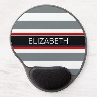 Charcoal Wht Horiz Stripe Black Red Name Monogram Gel Mouse Pad