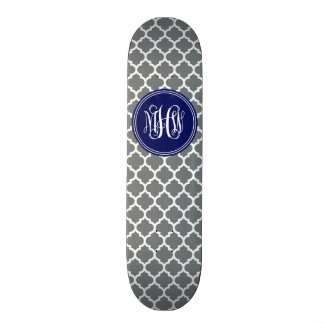 Charcoal Wht Moroccan #5 Navy 3 Init Vine Monogram Skate Boards