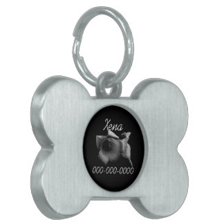 Charcoal Wildflower Pet ID Tag