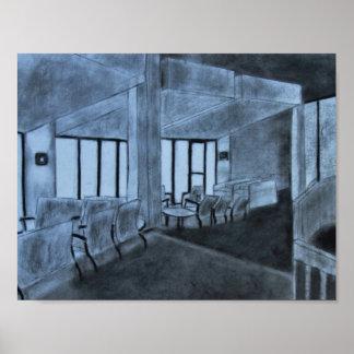 Charcoal Windowed Room Poster