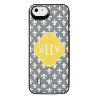 Charcoal Wt Fleur de Lis Pineapple 3 Init Monogram iPhone SE/5/5s Battery Case
