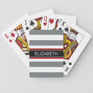 Charcoal Wt Horz Preppy Stripe Black Name Monogram Poker Cards