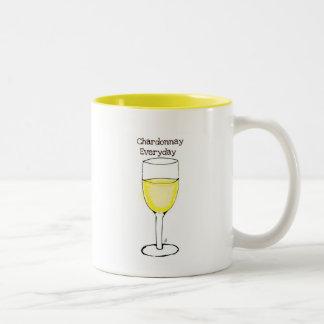 CHARDONNAY EVERYDAY WINE PRINT BY JILL Two-Tone COFFEE MUG