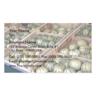 Charentais melons displayed in grocery store business card template