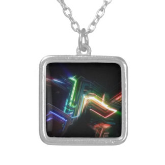 Charged particles silver plated necklace
