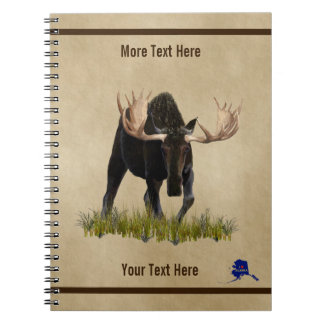 Charging Bull Moose On Old Paper Notebook