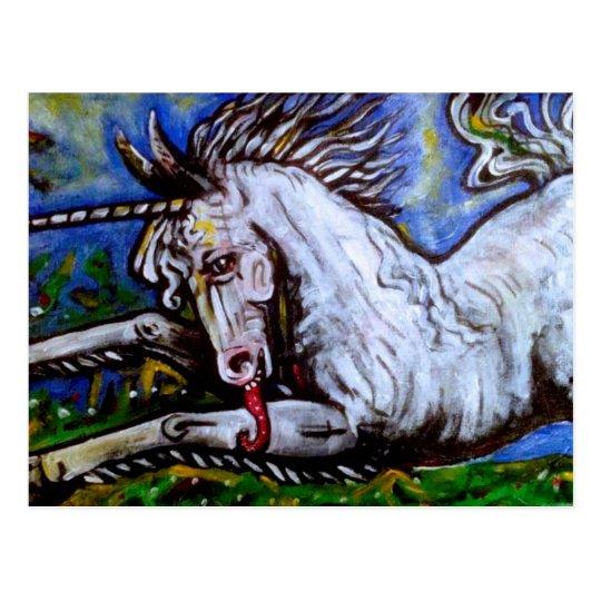 Charging Unicorn. Postcard