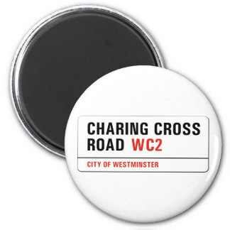 Charing Cross Road, London Street Sign 6 Cm Round Magnet