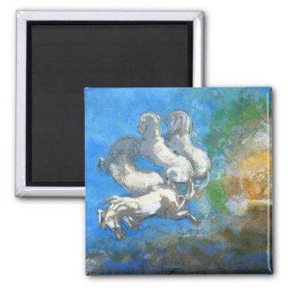 Chariot of Apollo: by Symbolist Odilon Redon Square Magnet