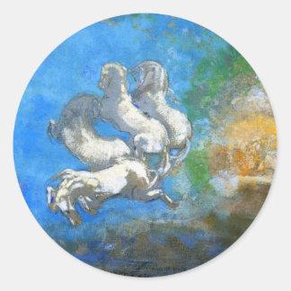 Chariot of Apollo: by Symbolist Odilon Redon Round Sticker
