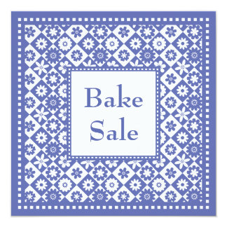 Charity Bake Sale Blue and White Old Fashioned Announcements