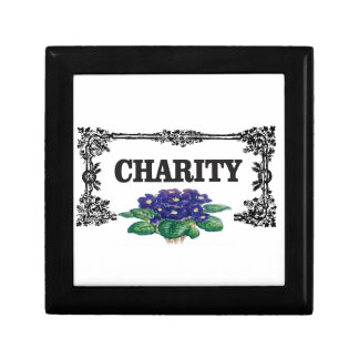 charity blue flowers small square gift box
