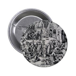 Charity by Pieter Bruegel the Elder 6 Cm Round Badge
