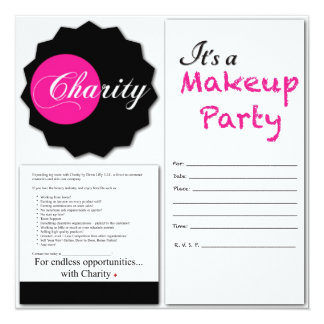 """Charity  Makeup Party Invitations 5.25"""" Square Invitation Card"""