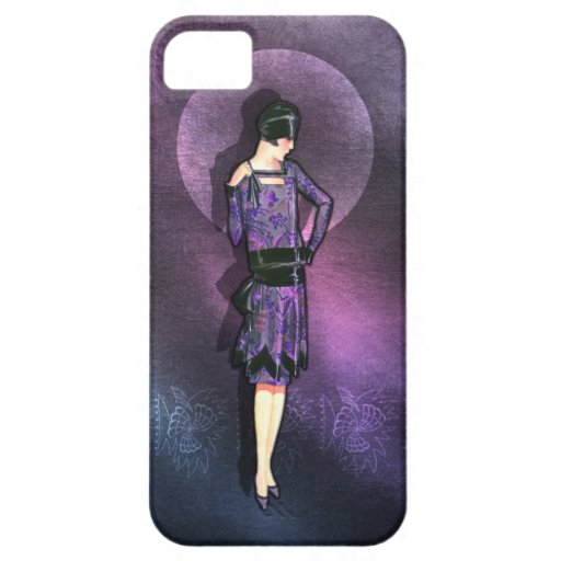 Charla - 1920s Fashion in Steel Blue and Purple iPhone 5 Cover