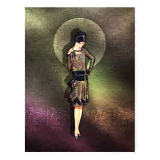 Charla - 1920s Fashion in Taupe Brown Yellow Postcard