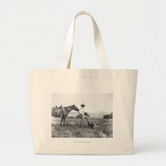 Charles Belden with horse and skull. Large Tote Bag