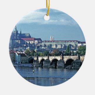 Charles Brdge Prague Castle Tom Wurl.jpg Ceramic Ornament