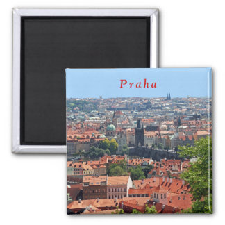 Charles Bridge and Tiled Roofs. Magnet