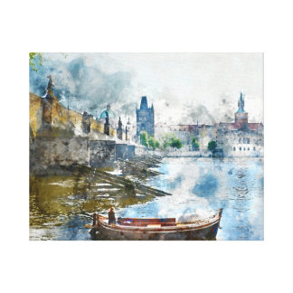 Charles Bridge in Prague Czech Rebulic Canvas Print