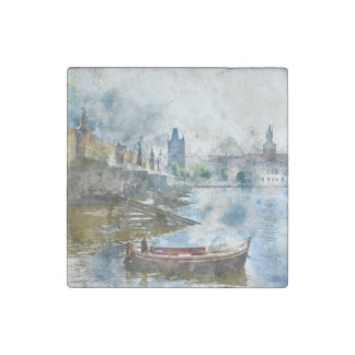 Charles Bridge in Prague Czech Rebulic Stone Magnet
