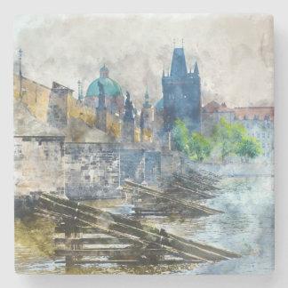 Charles Bridge in Prague Czech Republic Stone Beverage Coaster