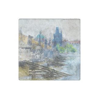 Charles Bridge in Prague Czech Republic Stone Magnet