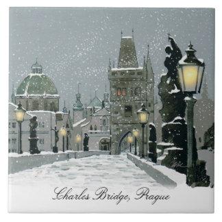 Charles Bridge Winter ceramic tile