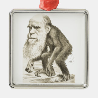 Charles Darwin the Monkey Man Silver-Colored Square Decoration