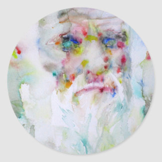 charles darwin - watercolor portrait classic round sticker