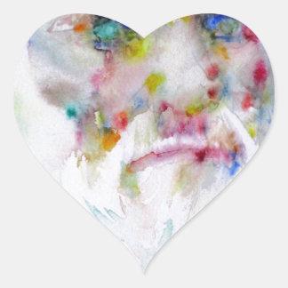 charles darwin - watercolor portrait heart sticker