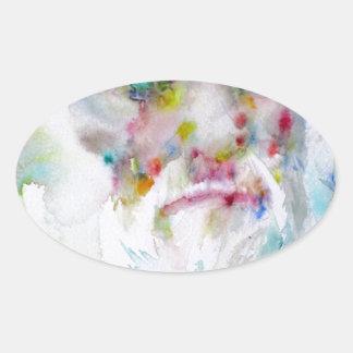 charles darwin - watercolor portrait oval sticker