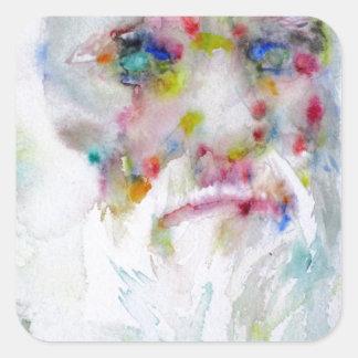 charles darwin - watercolor portrait square sticker