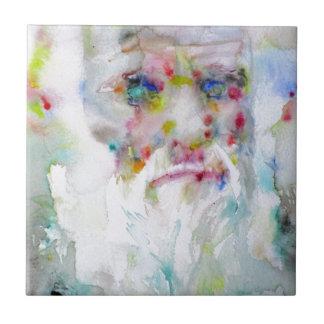 charles darwin - watercolor portrait tile