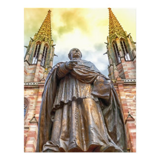 Charles-Emile Freppel statue, Obernai, France 21.5 Cm X 28 Cm Flyer