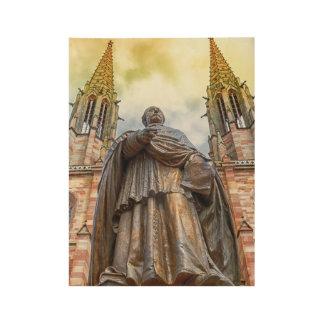 Charles-Emile Freppel statue, Obernai, France Wood Poster