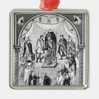 Charles the Bald, King of France Silver-Colored Square Decoration