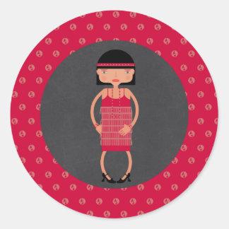 Charleston Chic girl Birthday Party Classic Round Sticker