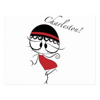 Charleston dancer girl postcard
