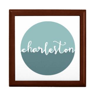 Charleston, SC | Blue Ombre Circle Large Square Gift Box