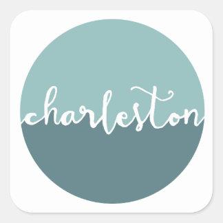Charleston, SC   Blue Ombre Circle Square Sticker