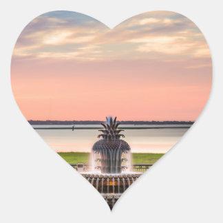 Charleston SC Pineapple Fountain Sunrise Heart Sticker